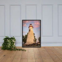 Marblehead Lighthouse at Sunset From the Shore Framed Photo Paper Wall Art Prints Black / 24×36 - PIPAFINEART