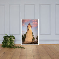 Marblehead Lighthouse at Sunset From the Shore Framed Photo Paper Wall Art Prints White / 24×36 - PIPAFINEART