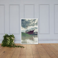 Foggy River Framed Photo Paper Wall Art Prints Coastal / Beach / Shore / Seascape Landscape Scene  White / 24×36