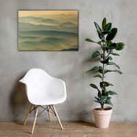 Foggy Mountain Layers at Sunset Rural Landscape Canvas Wall Art Prints Rural / Farmhouse / Country Style Landscape Scene 24×36