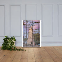 Faux Wood Texture Marblehead Lighthouse at Sunset Framed Photo Paper Wall Art Prints White / 24×36 - PIPAFINEART