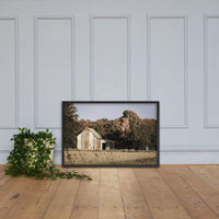 Patriotic Barn in Field Aged Effect Framed Photo Paper Wall Art Prints Black / 24×36 - PIPAFINEART