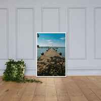 Endless Dock Framed Photo Paper Wall Art Prints - Coastal / Beach / Shore / Seascape Landscape Scene White / 24×36