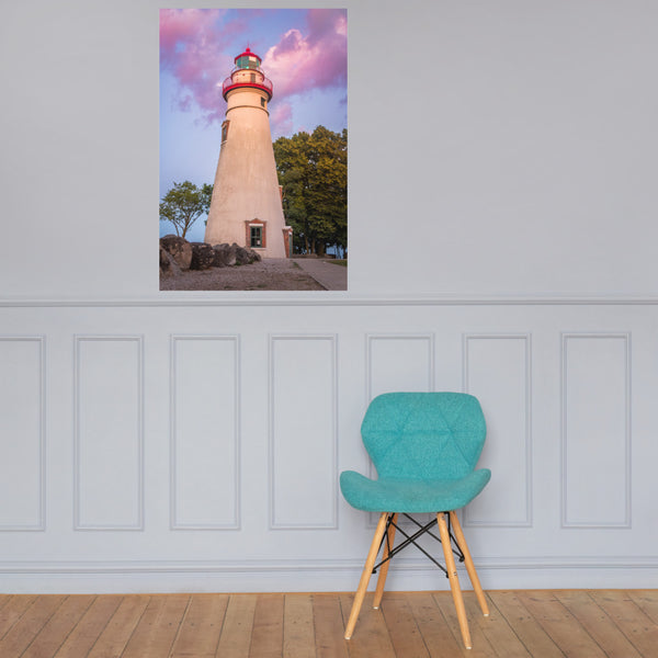 Marblehead Lighthouse at Sunset Landscape Photo Loose Wall Art Print 24×36 - PIPAFINEART