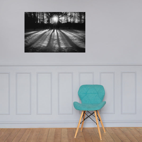 Winter Shadows Black and White Landscape Photo Loose Wall Art Prints 24×36 - PIPAFINEART