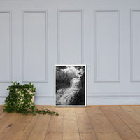 Chittenango Waterfall in Black and White Framed Photo Paper Wall Art Prints White / 18×24 - PIPAFINEART
