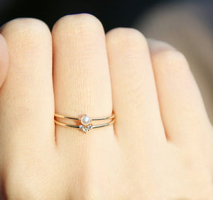 Dainty Simple Cute Heart Crystal Ring