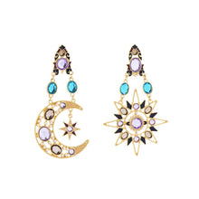 Load image into Gallery viewer, Celestial Sun And Moon Crystal Earrings
