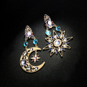 Celestial Sun And Moon Crystal Earrings