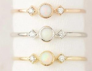Loveliness Round Fire Opal Rings