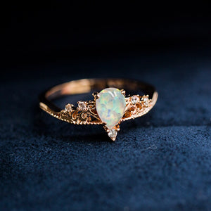 Copper Plated Zircon Moonstone Ring