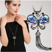 Load image into Gallery viewer, Blue Crystal Butterfly Necklace