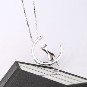 Cat Moon Silver Necklace