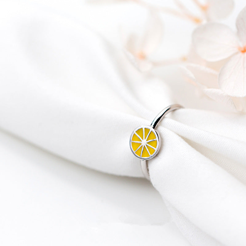 Cute Silver Lemon  Open Ring