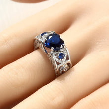 Load image into Gallery viewer, Birthstone Garnet Heart Angel Wing Ring