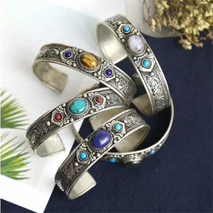 Tibetan Antique Silver Open Cuff Bangle