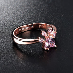 Crystal Paw Rose Gold Ring