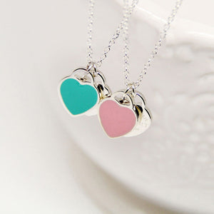 Stainless Steel Heart Necklace Pendant Green&Pink