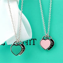 Load image into Gallery viewer, Stainless Steel Heart Necklace Pendant Green&Pink