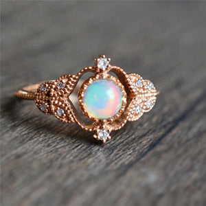 Rainbow Opal Rose Gold Ring