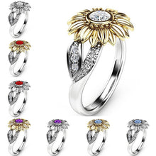 Load image into Gallery viewer, Crystal Sunflower Ring