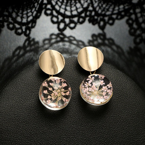 Clear Transparent Ball Earrings Gold Color