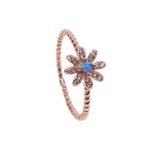 rose gold color daisy dainty flower ring