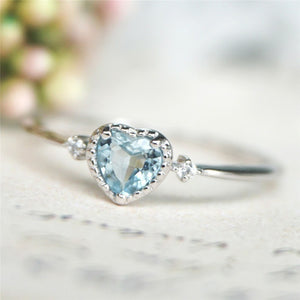 Blue Crystal Engagement Ring