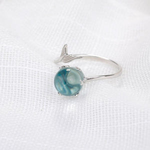 Ocean Blue Mermaid Sterling Silver Ring