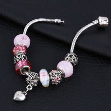 Load image into Gallery viewer, Pink Crystal Charm Silver Bracelets & Bangles