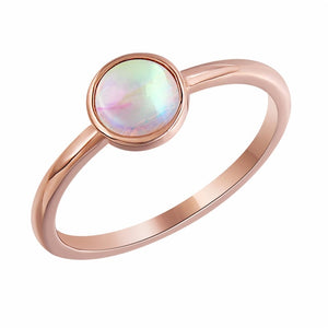 Charm Round Opal Rose Gold Ring