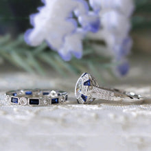 Load image into Gallery viewer, Fashion 2pc Luxury Blue Wedding Ring