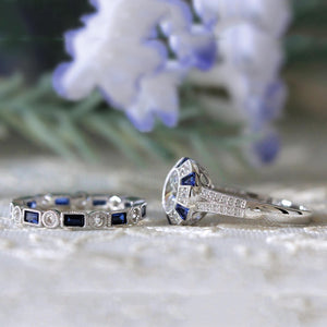 Fashion 2pc Luxury Blue Wedding Ring