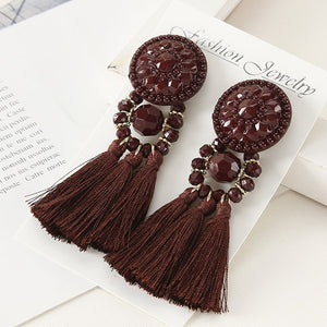 Long Drop Dangle Fringe Earrings Vintage