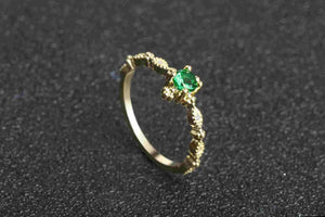 Green Stone Crystal Ring