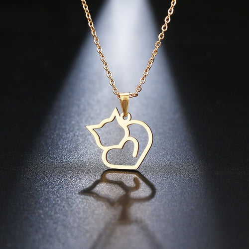 Gold And Silver Color Cat  Necklace
