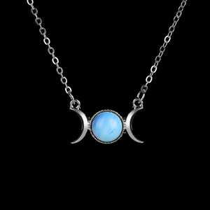 Natural Stone Triple Moon Goddess Necklace