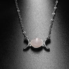 Load image into Gallery viewer, Natural Stone Triple Moon Goddess Necklace
