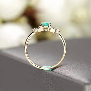 Small Green Zircon Stone Ring