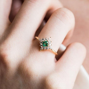 Green Crystal Engagement Ring