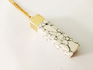 Marbled Stone Geometric Necklace