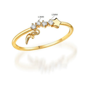 Dainty Moon & Star Ring