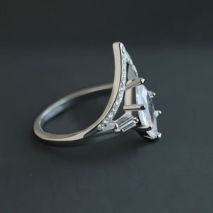Crowned Oval Crystal Ring