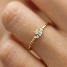 Load image into Gallery viewer, Dainty White Crystal Zircon Ring
