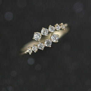 Dainty White Crystal Ring