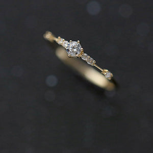 Cute Dainty Thin Women Crystal Ring
