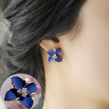 Load image into Gallery viewer, Blue Flower Rhinestone Crystal Earring
