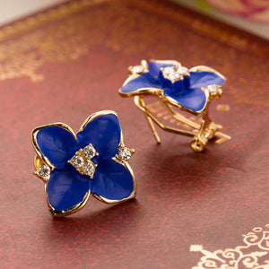 Blue Flower Rhinestone Crystal Earring
