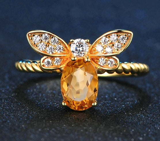 Citrine Oval Bee Ring