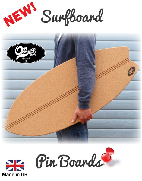 Surfboard Pin Board  -  Natural Cork